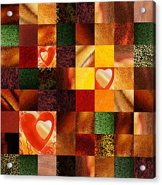 Hidden Hearts Squared Abstract Design Acrylic Print by Irina Sztukowski