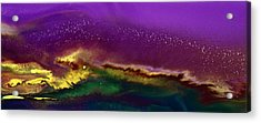 Hidden Moon Fluid Art By Kredart Acrylic Print by Serg Wiaderny