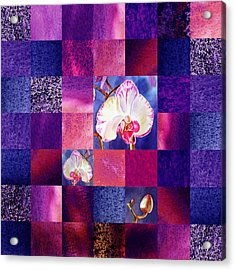 Hidden Orchids Squared Abstract Design Acrylic Print by Irina Sztukowski