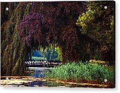 Hidden Shadow Bridge At The Pond. Park Of The De Haar Castle Acrylic Print by Jenny Rainbow
