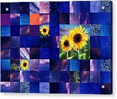 Hidden Sunflowers Squared Abstract Design Acrylic Print by Irina Sztukowski