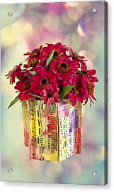 Acrylic Print featuring the photograph Hide And Seek Zinnias by Sandra Foster