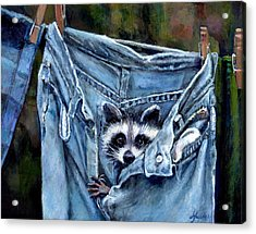 Hiding In My Jeans Acrylic Print by Donna Tucker