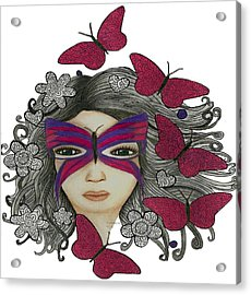 Hiding Me Pencil Drawing By Saribelle Rodriguez Acrylic Print