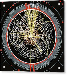 Higgs Boson Decay Model Acrylic Print by Cern/science Photo Library