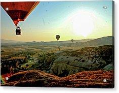 High Angle View Hot Air Balloons Acrylic Print by Ximena Guevara / Eyeem
