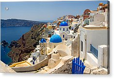 High Angle View Of A Church, Oia Acrylic Print by Panoramic Images