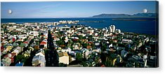 High Angle View Of A City, Reykjavik Acrylic Print