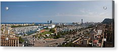 High Angle View Of A Harbor, Port Vell Acrylic Print by Panoramic Images