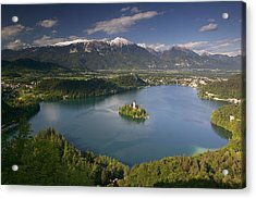 High Angle View Of A Lake, Lake Bled Acrylic Print by Panoramic Images