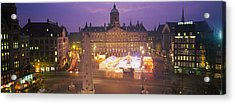 High Angle View Of A Town Square Lit Acrylic Print by Panoramic Images