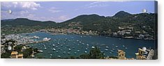 High Angle View Of Boats At A Port Acrylic Print