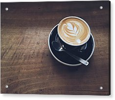 High Angle View Of Cappuccino On Wooden Acrylic Print by Eujin Goh / Eyeem