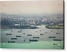 High Angle View Of Cargo Ships With Acrylic Print