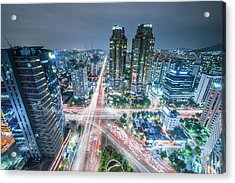 High Angle View Of Cityscape Lit Up At Acrylic Print by Gangil Gwon / Eyeem