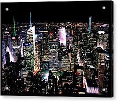 High Angle View Of Cityscape Lit Up At Acrylic Print by Paolo Tahalele / Eyeem