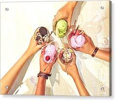 High Angle View Of Friends Cheering Ice Acrylic Print by Ni Putu Evy Shinta Dewi / Eyeem