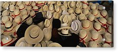 High Angle View Of Hats In A Market Acrylic Print by Panoramic Images