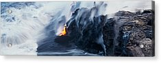 High Angle View Of Lava Flowing Acrylic Print