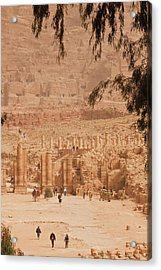 High Angle View Of Tourists At Ancient Acrylic Print