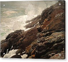 High Cliff Coast Of Maine 1894 Acrylic Print by Philip Ralley