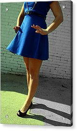 High Heels And A Blue Skirt Acrylic Print