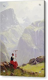 Acrylic Print featuring the painting High In The Mountains by Hans Andreas Dahl