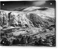 High Rigg From Castlerigg Stone Circle Mono Acrylic Print by George Hodlin