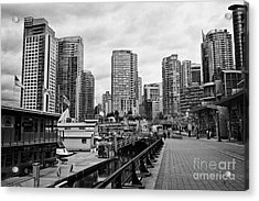 high rise apartment condo blocks in the west end coal harbour marina Vancouver BC Canada Acrylic Print by Joe Fox