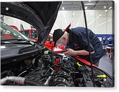 High School Auto Repair Competition Acrylic Print by Jim West