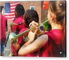 High School Band At Parade Acrylic Print by Susan Savad