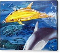Acrylic Print featuring the painting High Tech Dolphins by Thomas J Herring