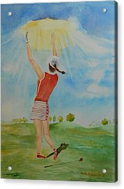 Highest Calling Is God Next Golf Acrylic Print by Geeta Biswas
