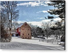 Highland Farms In The Snow Acrylic Print by Bill Cannon