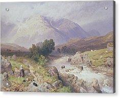 Highland Scene Near Dalmally Argyll Acrylic Print by Myles Birket Foster