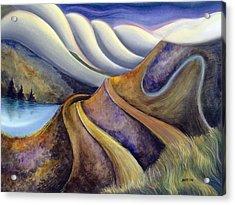 Highway With Fog Acrylic Print
