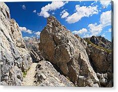 hike in Dolomites Acrylic Print by Antonio Scarpi