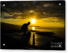 Hiker @ Diamondhead Acrylic Print by Angela DeFrias