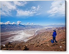 Hiker At Dante's View Acrylic Print by JeffGoulden