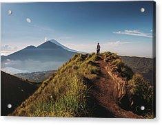 Hiker Staying On Top Of  Mount Batur Acrylic Print by Alex Grabchilev / Evgeniya Bakanova