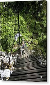 Hikers At Old Kurt Shafer Bridge, Uganda Acrylic Print