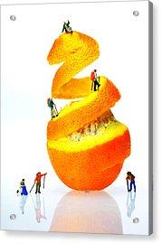 Hikers Climbing Orange Mountain Acrylic Print by Paul Ge