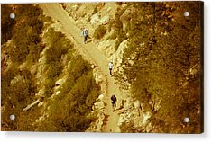 Hikers In Canyon Acrylic Print by Nickaleen Neff