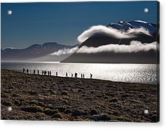 Hikers In The High Arctic Acrylic Print