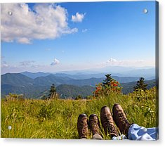 Hikers With A View On Round Bald Near Roan Mountain Acrylic Print by Melinda Fawver