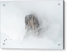 Hiking The Tre Cime In Winter Acrylic Print