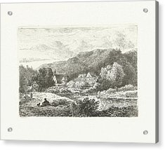 Hill Landscape With Church And Houses, Print Maker Pieter Acrylic Print by Pieter Casper Christ