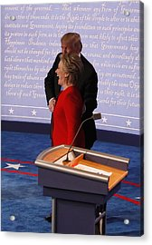 Hillary Clinton And Donald Trump Face Off In First Presidential Debate At Hofstra University Acrylic Print by Pool