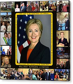 Hillary Rodham Clinton        Acrylic Print by James William Allen