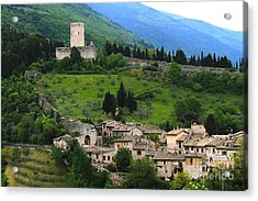 Hillsides Of Assisi Italy Acrylic Print by Theresa Ramos-DuVon